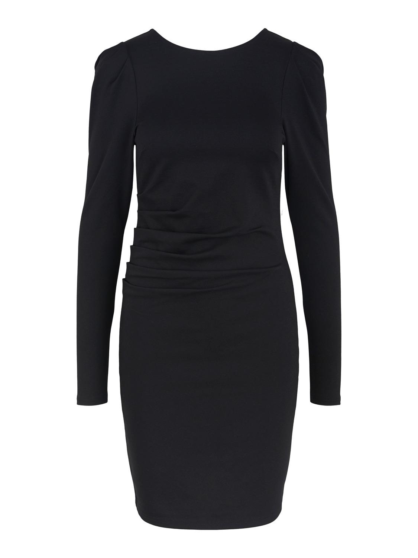 kleid mit leichten puffärmel in schwarz